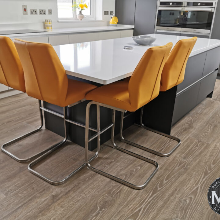 A contemporary kitchen and island in Athlone
